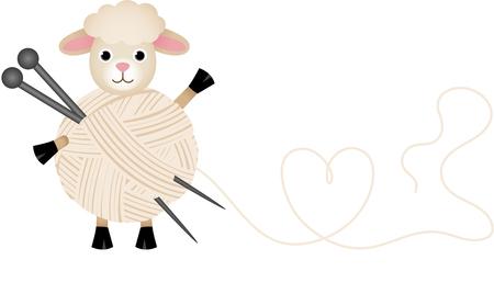 knitting needles: Sheep with wool yarn and knitting needles