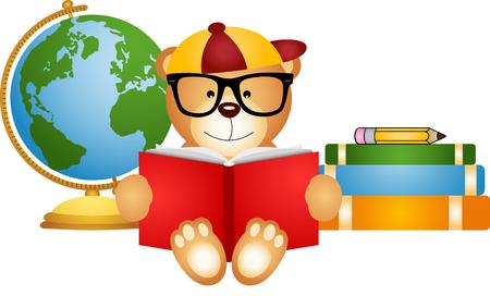 vector studies: Teddy bear reading book with globe