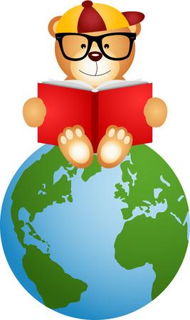 student life: Teddy bear reading book sitting on globe