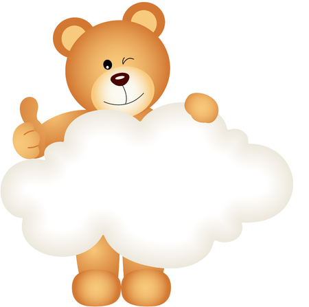 jubilation: Teddy bear holding blank cloud Illustration