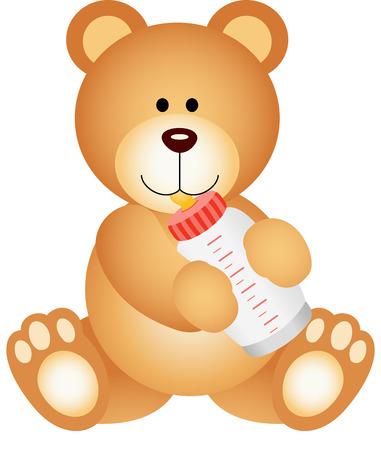 baby bear: Teddy bear baby drinking milk from bottle