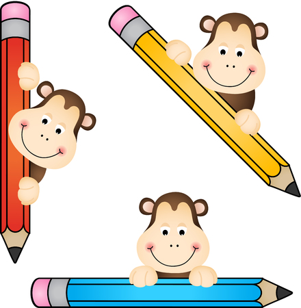 student life: Funny monkey with pencil