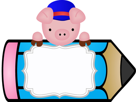 study table: Pig with pencil personalized label sticker