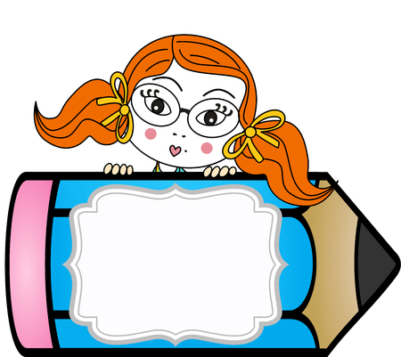 student life: Girl with pencil personalized label sticker