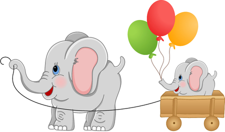 jubilation: Elephant pulling wood cart with baby elephant Illustration