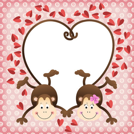 water s: Couple of monkeys shaped heart of tails scrapbook frame Illustration