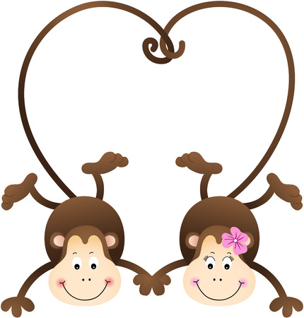 lovely couple: Couple of monkeys shaped heart of tails