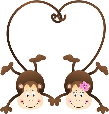 Couple Of Monkeys Shaped Heart Tails