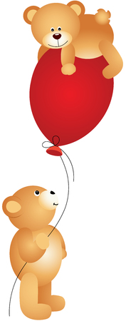 Teddy bears playing with balloon