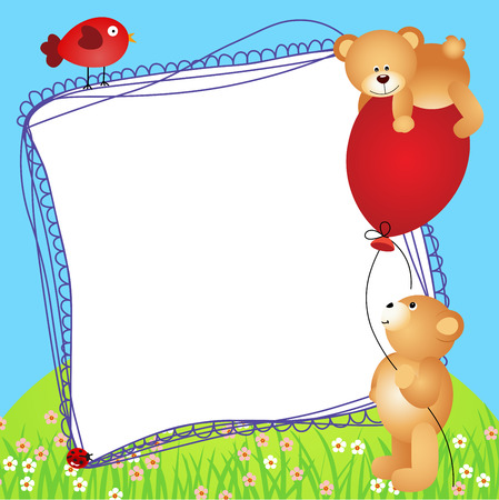 Teddy bears with balloon scrapbook frame