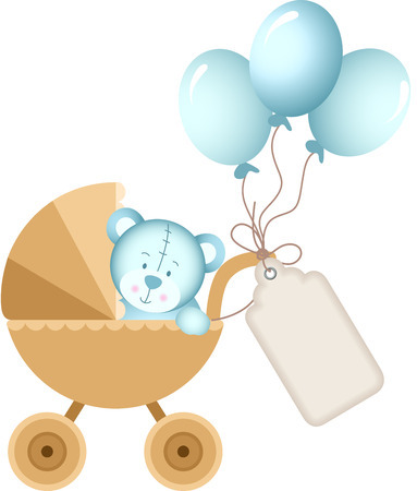 Boy teddy bear in baby carriage with label tag Illustration
