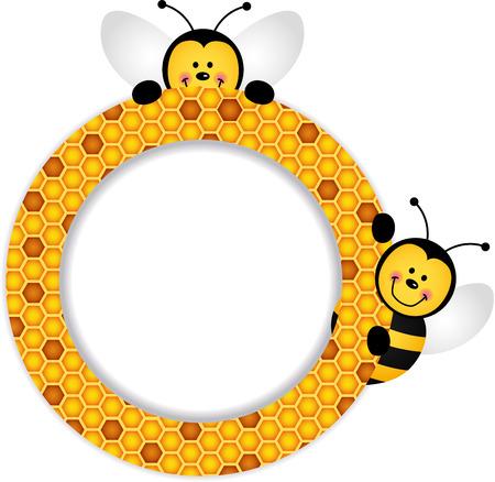 abejas panal: Las abejas marco del panal Vectores