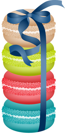 sweetmeats: Macaroons tied with blue ribbon Illustration