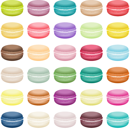 Set of sweets macaron biscuits of different colors Illustration