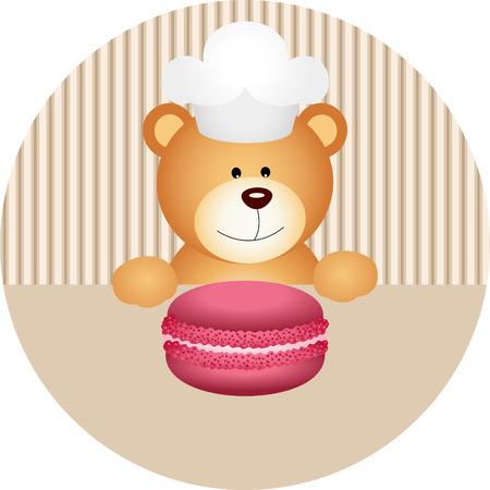 Teddy bear with macaron round sticker