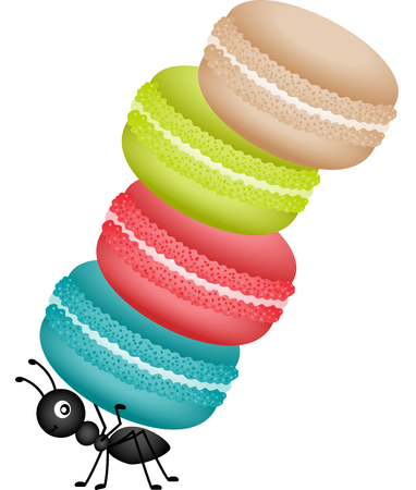 sweetmeats: Ant carrying a pile of macaroons