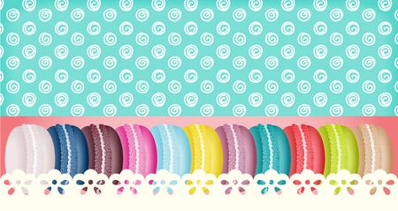 kulinarne: Kolorowe macarons banner france Ilustracja