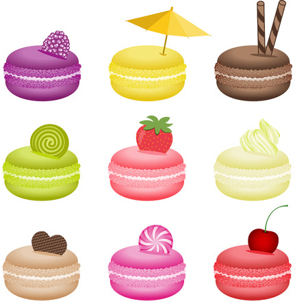 confectionery: Pretty decorated macaroons