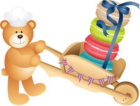 Teddy bear carrying macaroons