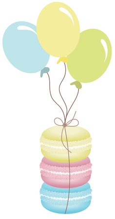 culinary arts: Macaroons tied with balloons Illustration