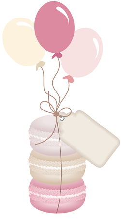 Macaroons with balloons and tag label