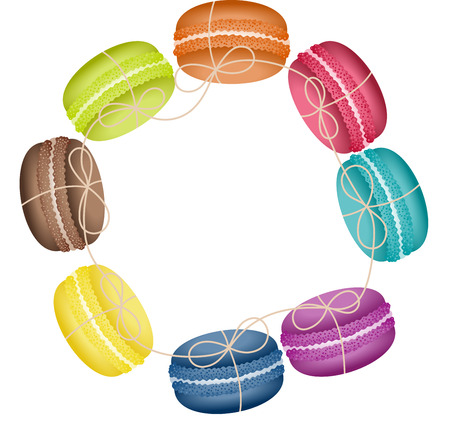 sweetmeats: Circular frame with macaroons Illustration