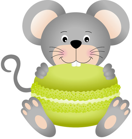 Mouse eating macaroon