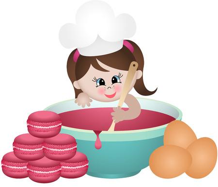 Little girl baking macaroons Illustration