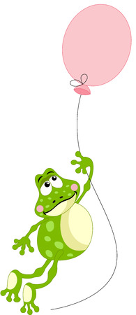 anura: Frog flying with balloon Illustration