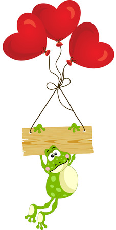 anura: Frog with wooden sign and heart balloons Illustration