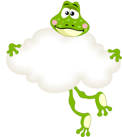 anura: Cute frog holding blank cloud