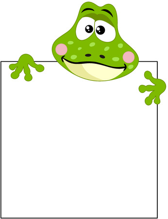 anura: Funny frog with blank sign Illustration