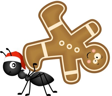 christmas cookie: Ant carrying a Christmas cookie man