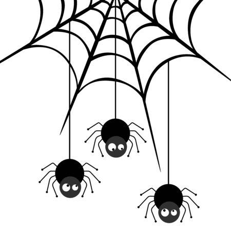 descending: Three spiders descending on the web