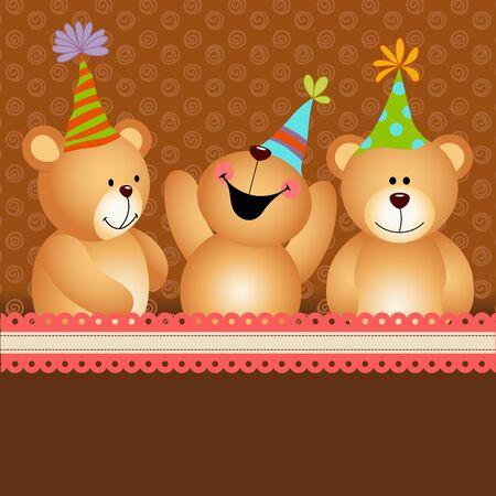 Background birthday teddy bears Illustration