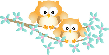 jubilation: Cute owl couple sitting on tree branch