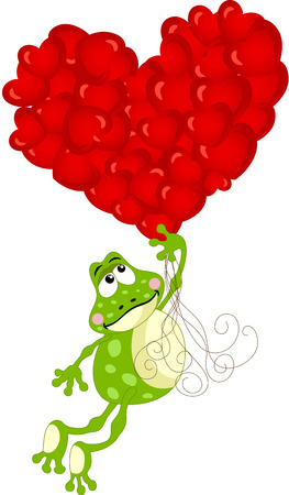 Cute frog flying with heart balloons