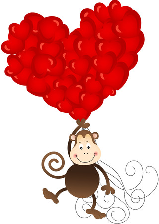 jubilation: Monkey flying with heart balloons