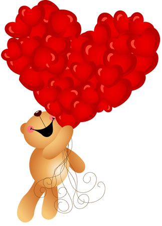 jubilation: Teddy bear with heart balloons flying