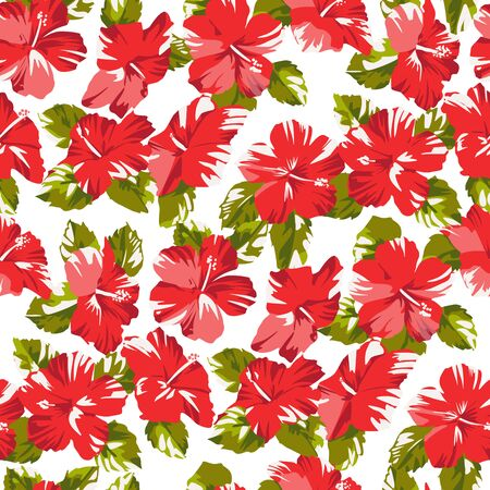 Seamless tropical flower hawaiian pattern