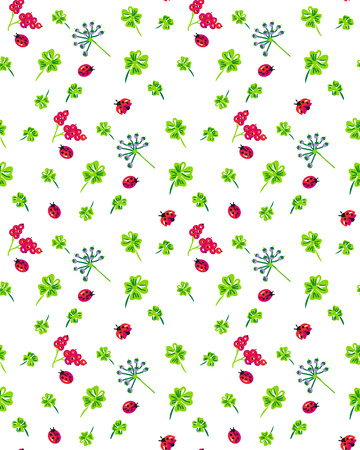 seamless clover: Clover and ladybird seamless pattern