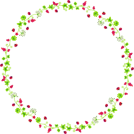 botanical gardens: Decorative circle frame with branches and ladybirds Illustration