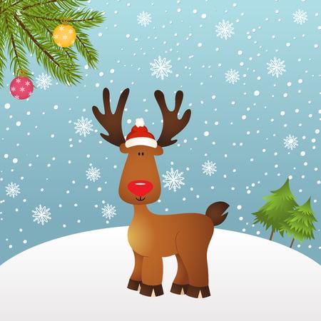 cervidae: Christmas card with reindeer