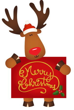 cervidae: Reindeer with santa claus hat holding a Merry Christmas Illustration