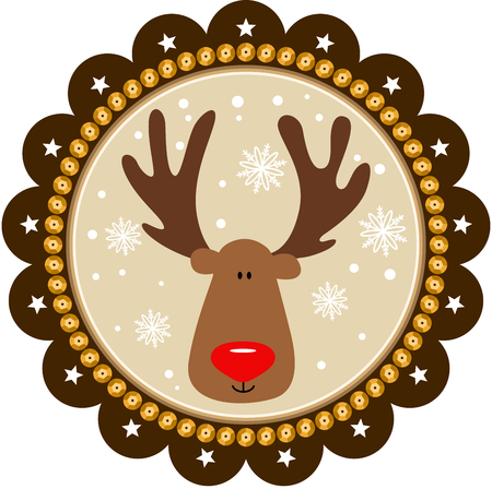 cervidae: Rounded christmas tags with cute reindeer Illustration