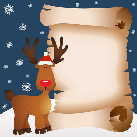 cervidae: Christmas card with reindeer and parchment
