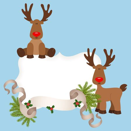 cervidae: Christmas card with reindeers
