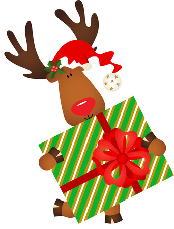 cervidae: Cute reindeer holding a Christmas gift