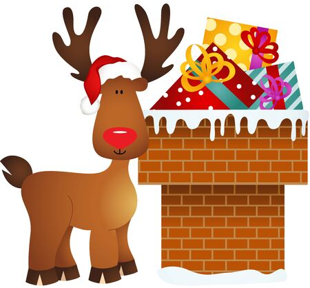cervidae: Reindeer on chimney with gifts