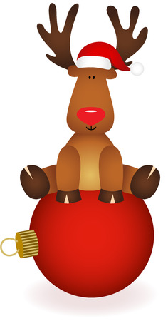Cute reindeer sitting on Christmas ball
